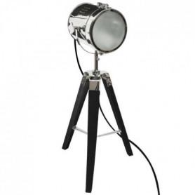 Lampe a poser en métal et bois - H 68 cm - Noir