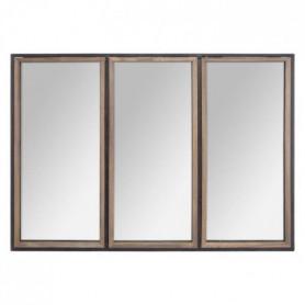 Miroir en bois et métal - 74 x 54 cm - Marron