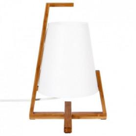 Lampe en bambou et abat-jour en plastique - H 32 cm