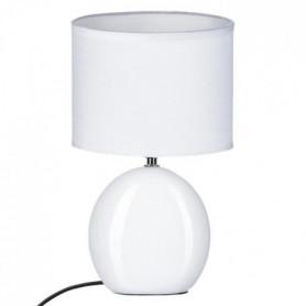 Lampe ovale en céramique - Ø 19,5 x H 31 cm - Blanc