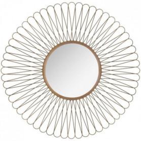 Miroir soleil a boucles en métal - Ø 76 cm - Noir