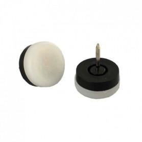 Lot de 4 Patins a pointe blanc - Ø 22 mm - Plastique