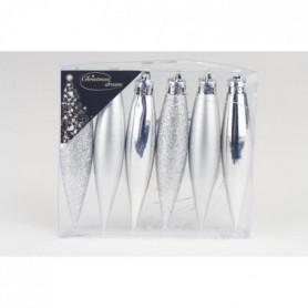 Set de 6 glaçons de Noël - H 9 cm - Argent