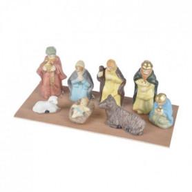 AUTOUR DE MINUIT Scene nativité 8 santons porcelaine