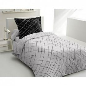 LOVELY HOME Parure de couette Coton - Noir - 140x200 cm
