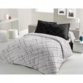 LOVELY HOME Parure de couette Coton - Noir - 200x200 cm