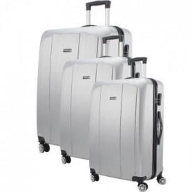 MAJESTICK 09 Set de 3 Valises Trolley Rigide ABS - Argent