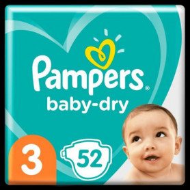 Pampers Baby-Dry Taille 3, 52 Couches