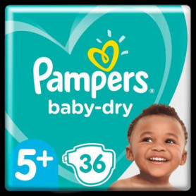 Pampers Baby-Dry Taille 5+, 36 Couches