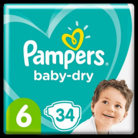 Pampers Baby-Dry Taille 6, 34 Couches