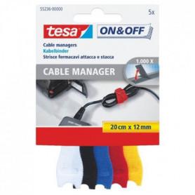 TESA Attache Câble - 0,2 m x 12 mm - 5 couleurs - 5 pieces