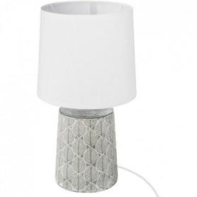 Lampe à poser en gres - E27 - 60 W - H. 35,5 cm - Gris