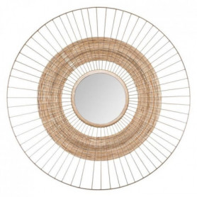 Miroir soleil en métal et jonc - Ø 75 cm - Doré