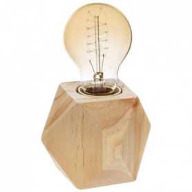 Lampe socle en bois - E27 - 25 W - H. 8 cm - Beige