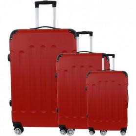 Set de 3 Valises Trolley Rigide ABS - 8 Roues - 50-60-70 cm - Rouge 139193