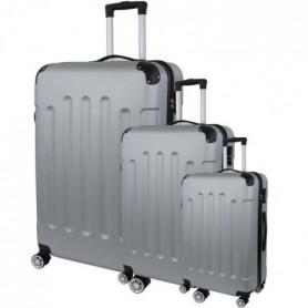 Set de 3 Valises Trolley Rigide ABS - 8 Roues - 50-60-70 cm - Argent