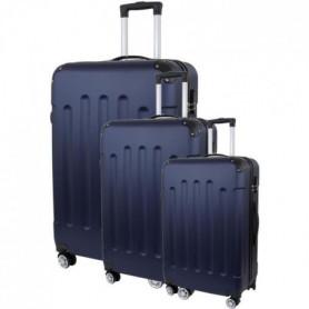 Set de 3 Valises Trolley Rigide ABS - 8 Roues - 50-60-70 cm - Bleu marine