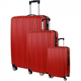Set de 3 Valises Trolley Rigide ABS - 8 Roues - 50-60-70 cm - Rouge 139197