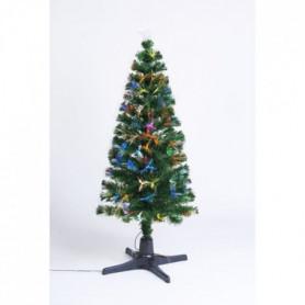 Sapin vert de Noël en PVC - H 120 cm - Fibre optique avec pied oscillant