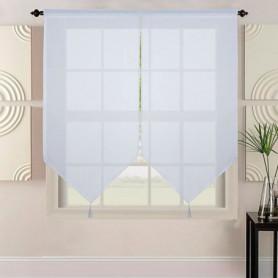 Paire de vitrage grande longueur aspect lin tissé - 60 x 220 cm - Blanc