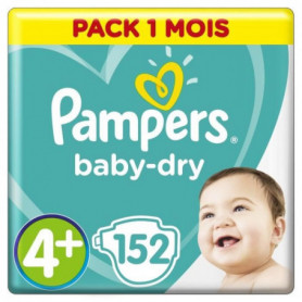 PAMPERS Baby Dry Taille 4+ - 9 a 18kg - 152 couches