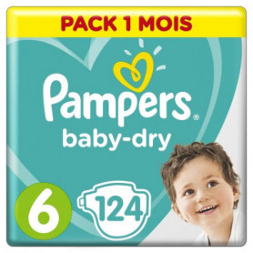 PAMPERS Baby Dry Taille 6 - des 15 kg - 124 couches