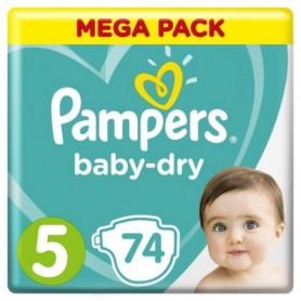 Pampers Baby-Dry Taille 5, 11-16 kg - 74 Couches