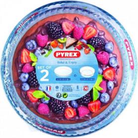 PYREX Lot moule a manque verre 26cm + moule a tarte verre 28cm