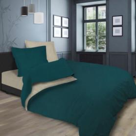 SOLEIL d'OCRE Parure de lit bicolore - 240 x 290 cm - Bleu et écru