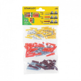 STANLEY Sachet souple transparent de 50 chevilles en nylon