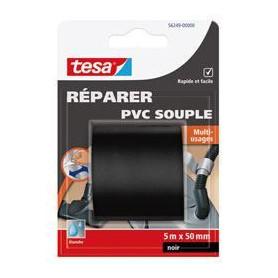 TESA Ruban de réparation PVC souple - 5m x 50mm - Noir