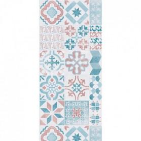 HELIO Tapis 100% vinyle - 50 x 112,5 cm - Bleu, blanc et rouge