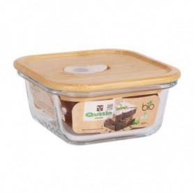 Panier-repas carré avec couvercle Quttin Verre Bambou