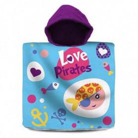 Serviette poncho avec capuche Love Pirates Bleu (60 X 120 cm)