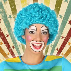 Perruque avec Cheveux Bouclés Clown Bleu 119822