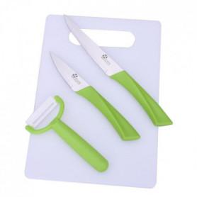 PRADEL EXCELLENCE Planche + 2 couteaux + éplucheur blanc et anis