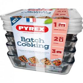 PYREX Lot de 4 plat à four BATCH COOKING 4x 1,5L Cook&Freeze