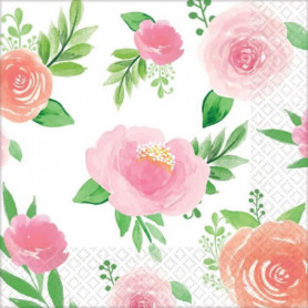 AMSCAN Lot de 16 Serviettes Floral Baby 25 cm