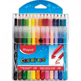 MAPED - Etui de 15 Crayons de couleurs + 12 Feutres Color'peps