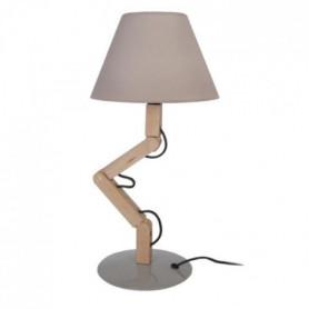 GERI Lampe a poser acier bois hetre - 18x30x45cm