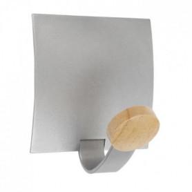 ALBA 1 Patere magnétique - Gris métal et bois clair