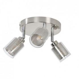 FUZO Spot 3 lumieres LED - H 18 cm - Gris alu brossé