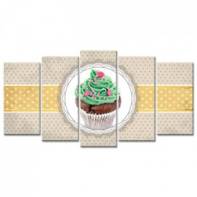 Tableau Déco Cuisine Pois et Cupcake - 150x80 cm