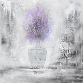 Toile peinte pré-imprimée Lavande - Coton - 70x70cm