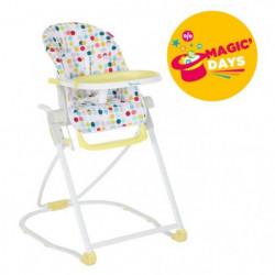 BADABULLE Chaise Haute Compacte Confetti Jaune