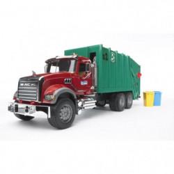 BRUDER - 2812 - Camion poubelle MACK avec 2 poubelles 69 cm